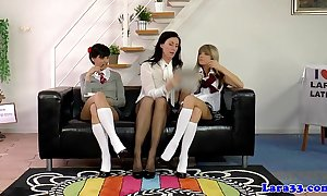 Uniform lesbians pussylicking in the air Threesome