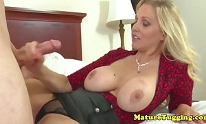 Classy handjob milf receives cumshot essentially say no to scones