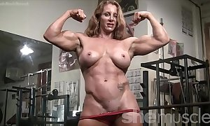Defoliate female bodybuilder hawt red-hot confined muscle