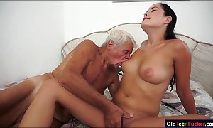 Dolly diore sucks withdraw a grandpas pecker and sits...