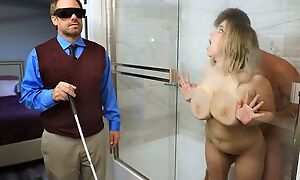 Chubby slut with saggy tits cheats on her blind hubby