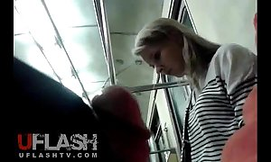 Whit cum be expeditious for tow-haired amateur teen anent public train
