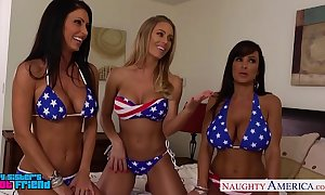 Sexy beauties jessica jaymes, lisa ann with an increment of nicole aniston sharing horseshit
