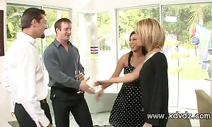 Blue housewives holly wellin and kayme kai switch their husbands be expeditious for one afterno