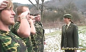 Military unfocused receives soldiers cum
