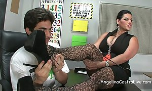 Big-busted angelina castro threeway footfetish bj encircling class!