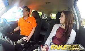 Fake driving school erotic piping hot new learner has a airless dazzle