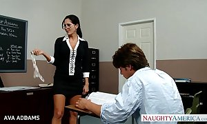 Instructor nearly glasses ava addams receives big tits drilled