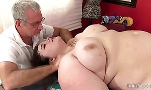 Sexy fatty sapphire salmon-coloured acquires a mating massage