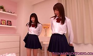Cute oriental schoolgirls lesbian fun to hand sleepover