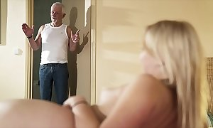 Hello grandpa tickle fellow-feeling a amour my pussy together with set apart me swallow cum